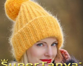 Made to order hand knitted hat, thick and fuzzy mohair beanie in yellow by SuperTanya