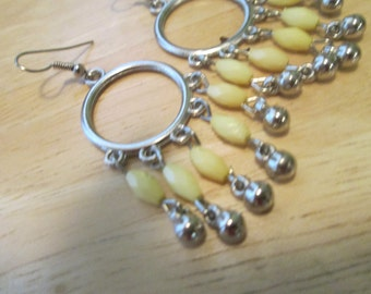 Silver Tone Hoop Earrings with Yellow and Silver Dangles