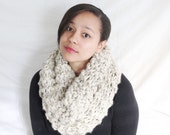Hand knit cowl, Knit scarf, Chunky circle scarf , Hooded scarf, - The Edita - Oatmeal knit scarf
