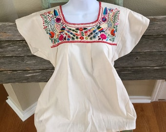 Authentic Mexican Embroidered Floral Colorful Top