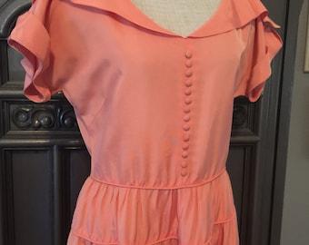 40s Apricot Taffeta Tiered Party Dress