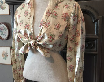 40s Satin Mid-Drift Tie Front Blouse