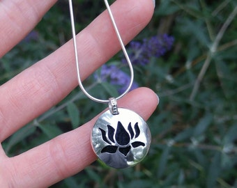 Lotus Flower Sterling Silver Essential Oil Necklace. Hand Cut Lotus Flower Silver Pendant. Aromatherapy Diffuser Necklace. Made to Order.