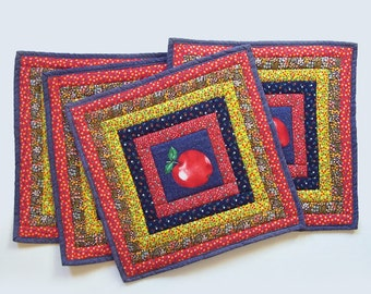 Country Calico Patchwork Apple Design Placemats