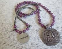 Mystical Antique Indian Silver Ganesh & Lakshmi Amulet on Pink Tourmaline and Hematite