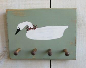 Handmade Key Holder with Shaker Pegs - Swan