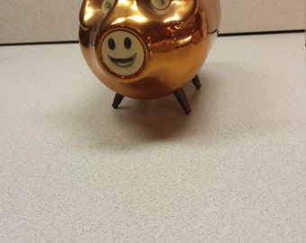 Piggy Bank, Copper & Brass, Hologram Eyes and Mouth