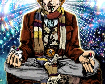 Doctor Who Poster- Original artwork of 4th DOCTOR Tom Baker meditating with Jelly Babies 11x17 digital print TIMELORD BLISS