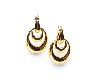 Vintage Gold Tone Napier Doorknocker Earrings