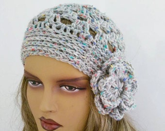 CAMPAIGN*grey flower Crochet Beanie Hat, Fashion Accessories-Crochet Slouchy Beanie Hat - Womens Crochet Slouch Hat - Winter Accessories