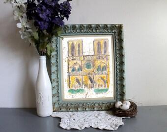 Paris Notre Dame Cathedral watercolor print