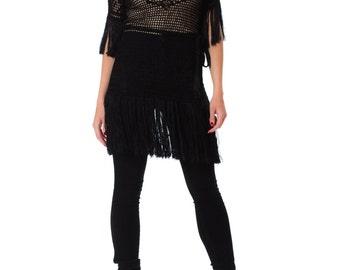 1920s Black Crochet Turtleneck Dress with Fringes SIZE: XS, 0-2