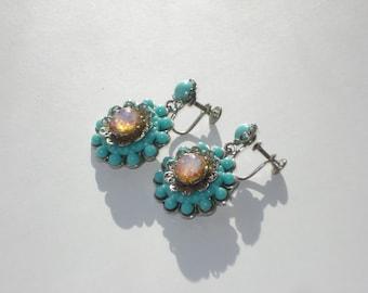 Vintage Opal Beaded Earrings - Turquoise Blue Flower Jewellery