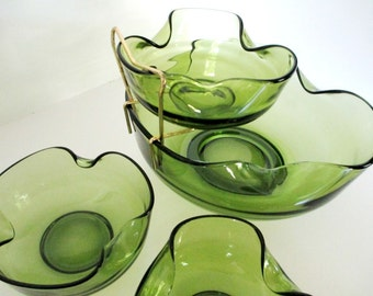 Anchor Hocking Accent Modern Avocado Glass Chip and Dip Set - 5 Piece