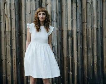 Linen Dress - Linen Frill Sleeves Dress - Linen Dress - White Linen Dress - Linen Frill Dress - Handmade by OFFON