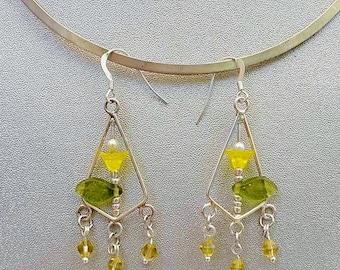 Yellow Flower Chandelier Earring Silver Hooks