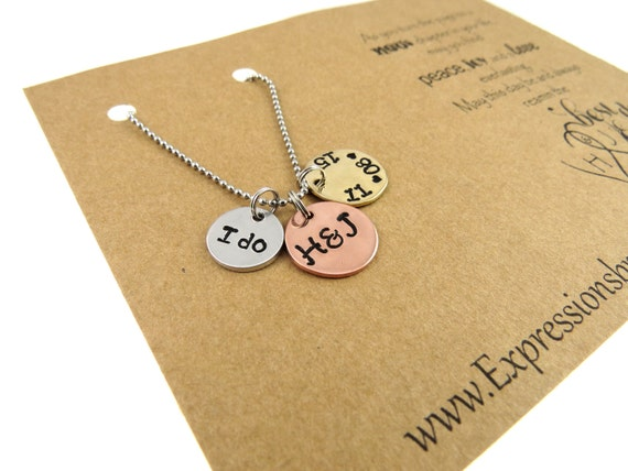 Hand Stamped JewelryWedding Day GiftHand Stamped NecklaceI do ...