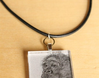 Wise Gorilla Pendant Necklace -  Wearable Art by Mandolin Artworks