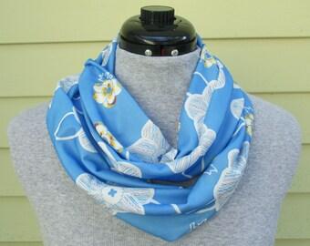 Blue Floral Scarf - Blue Infinity Scarf - Floral Scarf - Blue Loop Scarf - Blue Circle Scarf - One of a Kind Scarf - Scarf