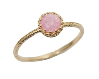 Gold ring. Gem ring. Cz ring. Pink ring. Gold pink ring. Icy pink ring. Stackable ring. Stacking ring. Gold jewelry. Gift for her