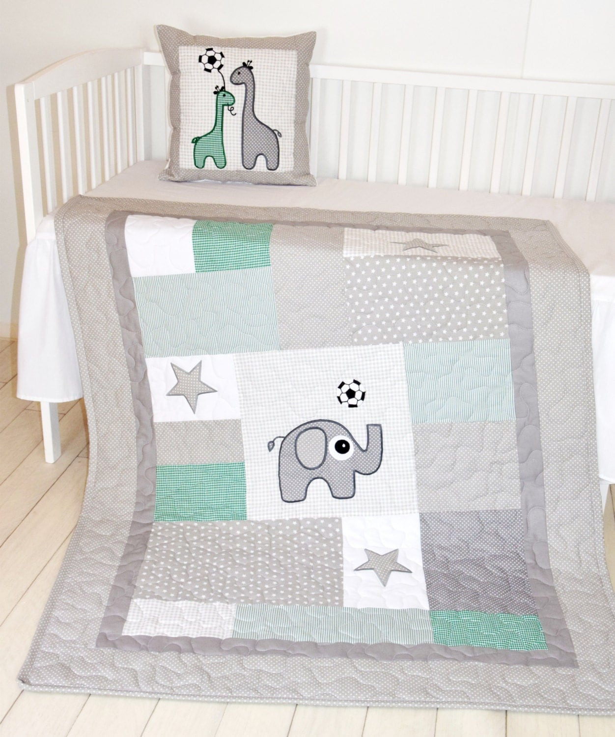 Crib pillows babies - Soccer Quilt And Pillow Sports Baby Boy Blanket Soccer Crib Bedding Soccer Pillows Green Gray White