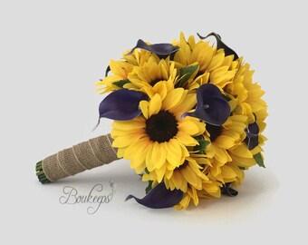 CHOOSE RIBBON COLOR - Sunflower Bouquet, Sunflower and Calla Lily Bouquet, Sunflower Bridal Bouquet, Sunflower Wedding, Purple Calla Lily