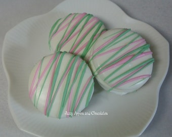 Pink and Mint Green, White Chocolate Dipped Oreo Cookies