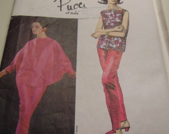 Vintage 1960's Vogue 1394 Couturier Design Pucci Jacket, Pants and Overblouse Sewing Pattern, Size 12, Bust 32