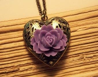 Bronze and Purple Rose Locket
