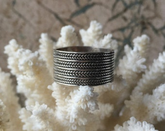 Sterling Silver Wide Band Ring - Woven Design - Size 8 3/4