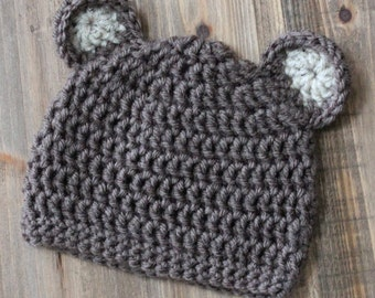Baby Boy Bear Hat, Brown Bear Hat, Toddler Boy Bear Hat
