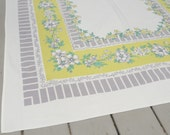 Mid Century Tablecloth Yellow Gray Floral