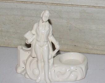 Vintage Man with Top Hat White Porcelain Figurine - Trinket Dish - Toothpick Holder - Candleholder - Business Card Holder - Ring Dish