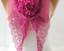 Magenta Special Rose Spring Summer Shawl Scarf Cotton Scarf Rose Scarf Lace Scarf  Fashion Women Accessories Christmas Gifts For Her DIDUCI
