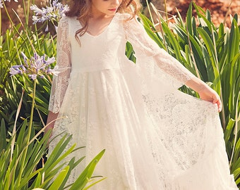 First Communion Dress/Flower Girl Off White Lace Dress/ Boho-chic Girls Dress /Lace dress for girls /Boho flower girl dress,Bohemian Wedding