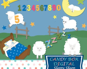 Sleepy Sheep Clipart, Counting Sheep Bedtime Clip Art - Commercial Use OK