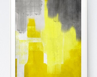 Yellow Grey Watercolor Painting Wall Art Abstract Original Printable Wall Print Mustard Gray Home Decoration Gift, INSTANT DOWNLOAD