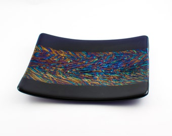 Iridescent Fused Glass Plate, Glass Serving Tray, Kitchen Accessories, Serveware, Decorative Platter, Unique Home Decor, One of a Kind Gifts
