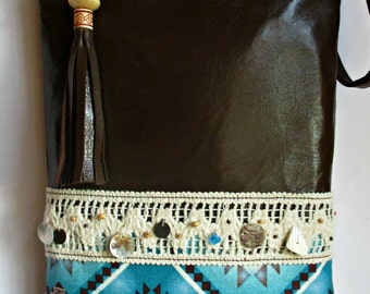 SUMMER SALE Leather Crossbody Bag, Brown Leather Bag, Turquoise Navajo Print Bag - Handmade by iDesign For You