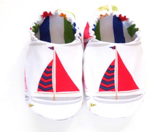 Nautical Sailboat Baby Boy Shoes, 0-6 mos. Baby Booties, Slip on Baby Shoes, Little Sailor Shoes, Soft Sole Shoes, Sailboats, Baby Gift