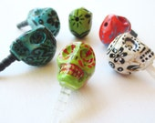 Day of the Dead -- Hand Painted Calavera Skull iPhone Headphone Plug/ Dust Plug - Cellphone Accessories