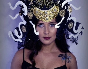 Black Gold Avant garde Ornate Unique Snake Medusa Crown Dramatic headpiece headdress jeweled hat Crown fashion accessory