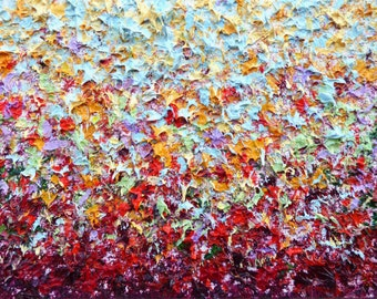 Colorful Abstract Expressionist Art Print, Fall Colors, Warm Tones, Abstract Art Giclee Print, Modern Art Expressionism, Autumn Landscape
