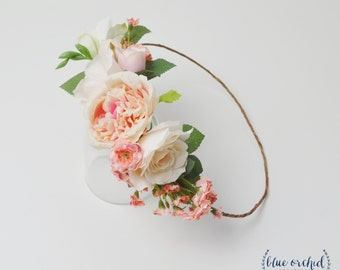 Peony Flower Crown, Boho Flower Crown, Wedding Crown, Wedding Flower Crown, Wedding Headpiece, Floral Crown, Floral Headpiece, Silk Flowers