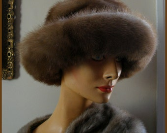 Vintage Mink Fur Hat Wide Brim Natural Mink Hat
