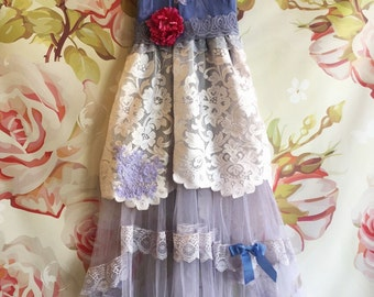 muted grey violet fishtail tulle boho bridesmaid dress by mermaid miss Kristin