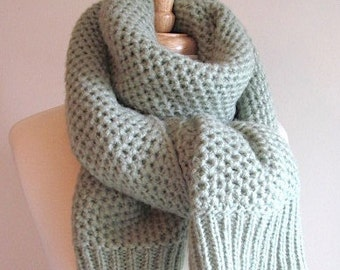 Mint Green Chunky Knitted Scarf Neck Warmer Scarves Women Girls Accessories