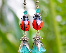 Green Ladybug Earrings- cherry red aqua handmade flower woodland cute ladybird insect boho jewelry hidden treasury