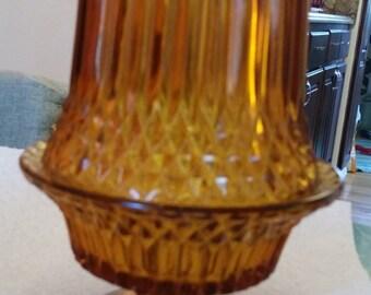 Vintage Indiana Glass Diamond Point Amber Fairy Lamp