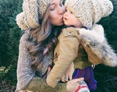 Mommy and me Slouchy Hat Set,Unisex Winter Hat,Warm Hat. Slouchy Hat,Womens slouchy Hat,Ski Hat,Pom beanie,Women's Pom Hats, Bulky knit hat,